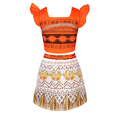 (Freebily Kids Girls Moana Princess Outfits Halter Tube Top with Skirt Costumes Halloween Cosplay Party Orange 12-18)