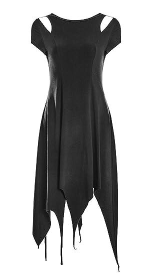 8e50c4d3dcb0 Punk Rave Robe Noire avec Ouvertures aux épaules et Effet déchiré, Gothique  Witchy  Amazon.fr  Vêtements et accessoires