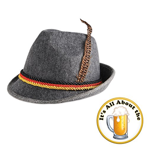 Oktoberfest German Alpine Hat All About The Beer Button 2 Piece Bundle Set -