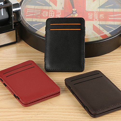 Cdet 1Pcs PU Leder Kreative Geldbörse Mode Herrn Brieftasche Schlüsselinhabers Klein Geldbörse Multi-Funktion Kreditkarte Koffer,11cm*9cm*1CM Red