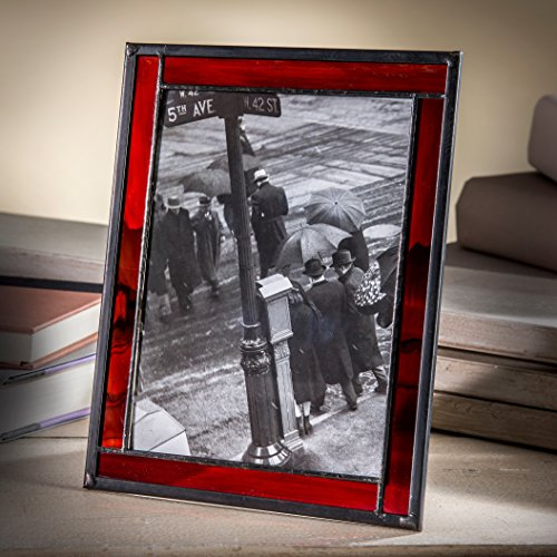 - J Devlin Pic 325-57HV Red Stained Glass Picture Frame 5x7 Photo Easel Back Tabletop