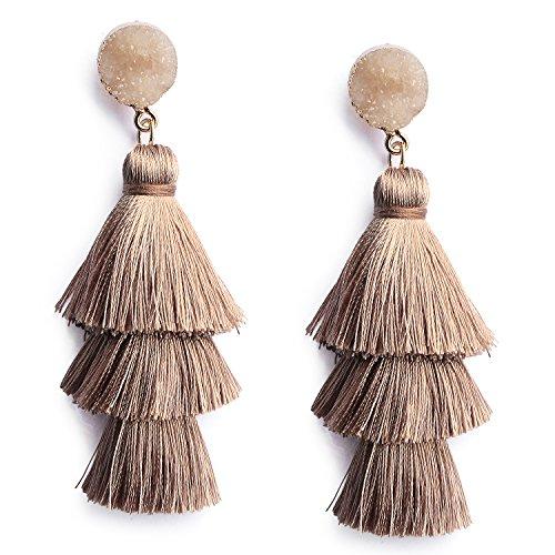 Bohemian Tiered Thread Tassel Earrings Fashion Brown Chandelier Drop Dangle Earrings for Women Girls (Brown Drop Earrings)