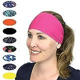 Cooling Headbands Moisture Wicking Sweatband & Sports Headband | Workouts Cardio Running Yoga | Headwear for Under Helmets & Hats | CoolCore Technology