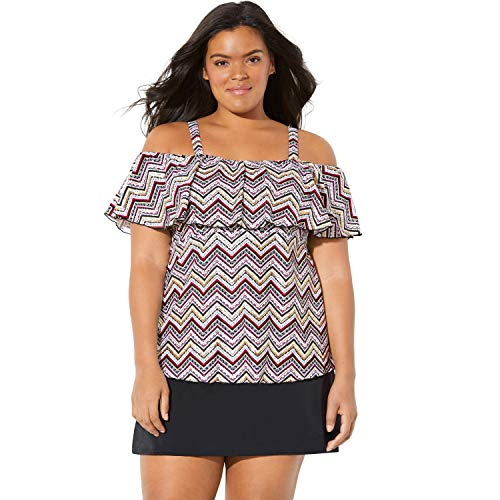 Swimsuits For All Women's Plus Size Ruffle Tankini Top - Foil Tribal Zigzag, 14 ()