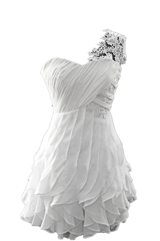 Victory Bridal Glamour Ein-Schulter Abendkleider Kurz Chiffon mit ...