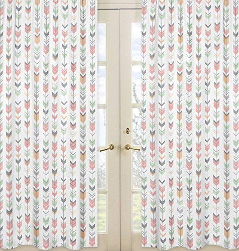 Grey, Coral and Mint Woodland Arrow Girls Bedroom Decor Window Treatment Panels - Set of 2 Sweet Jojo Designs B01HHAX9Z8