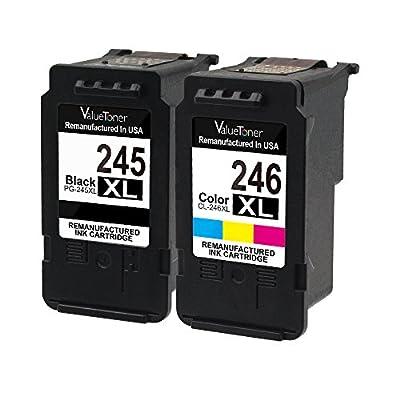 Valuetoner Remanufactured Ink Cartridge Replacement for Canon PG-245XL CL-246XL PG-243 CL-244 (1 Black, 1 Tri-Color) for Canon Pixma iP2820 MG2420 MG2520 MG2522 MG2920 MG2922 MG3022 MG3029 MX490 MX492