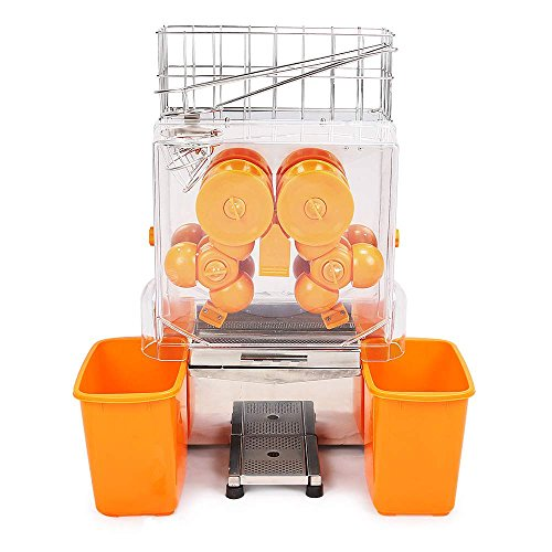 Maxwolf Plastic Tank Lemon Squeezer Juicer Extractor Machine Commercial Auto Feed 20-22 Oranges Per Mins