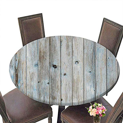 PINAFORE Circular Table Cover Light Blue Turquoise Colored Wooden Planks Texture for Wedding/Banquet 31.5
