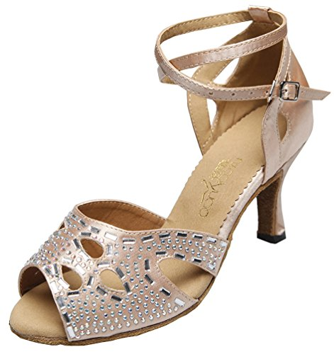Abby AQ-70211 Womens Latin Tango Ballroom Dance Party wedding Flared Heel Peep-toe Satin Dance-shoes Pink wvWfJP
