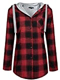 OMEYA.WANSHIDA.Womens Long Sleeve Button up Plaid Flannel Hooded Jacket Shirt(L, Red)