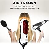 Infrared Hair Straightening Brush Mini Hair Dryer & Styler Hot Air Paddle Brush, Negative Ion Generator Hair Straightener For All Hair Types Eliminate Frizzing