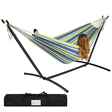 Best ChoiceProducts Double Hammock with Space Saving Steel Stand Includes Portable Carrying Case