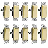 Enerlites Decorator On/Off Paddle Wall Switch 91150-I | 15 Amp, 120V/277V, AC, Single Pole, 3 Wire, Grounding Screw, Residential and Commercial Graded Light Switch, UL Listed | Ivory - 10 Pack