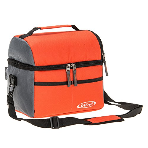 G4Free 8 Can Cooler Bag Dual Insulated Compartment Lunch Bag High Density Insulation with Strong Leakproof Liners, Many Pockets, Strong Zipper & Stitching(Orange)