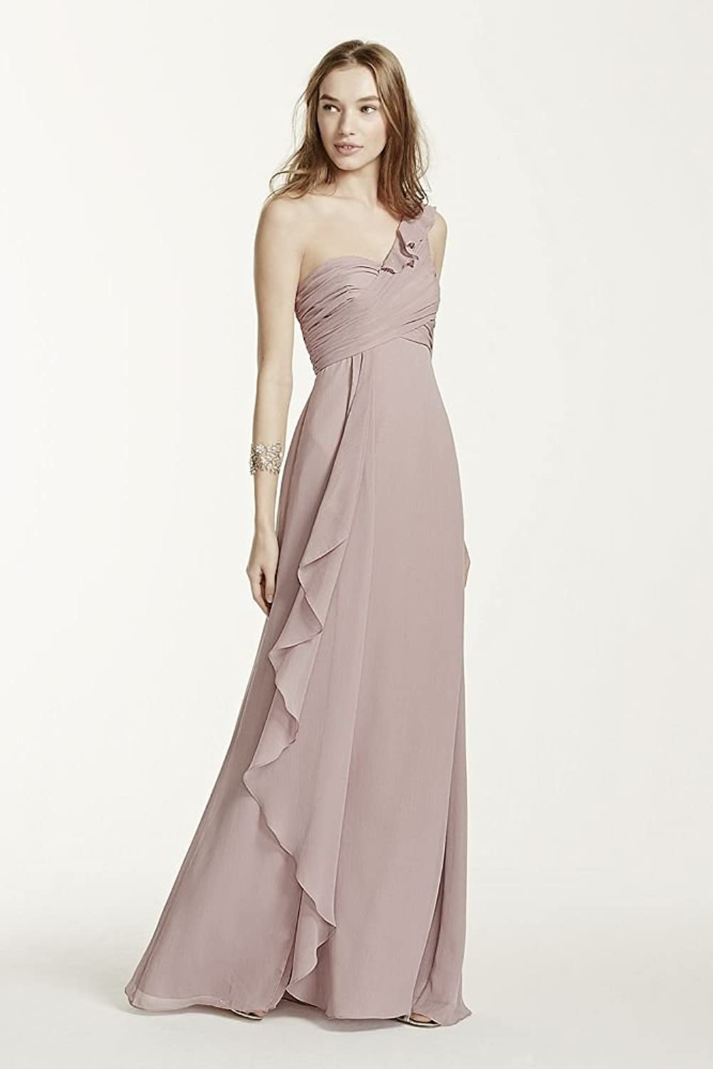 One shoulder chiffon bridesmaid dress with cascading detail style one shoulder chiffon bridesmaid dress with cascading detail style f15734 at amazon womens clothing store ombrellifo Choice Image