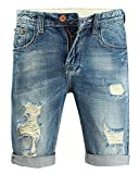 Myncoo Men's 80s Ripped Denim Shorts Distressed Jeans Light Washed (40)