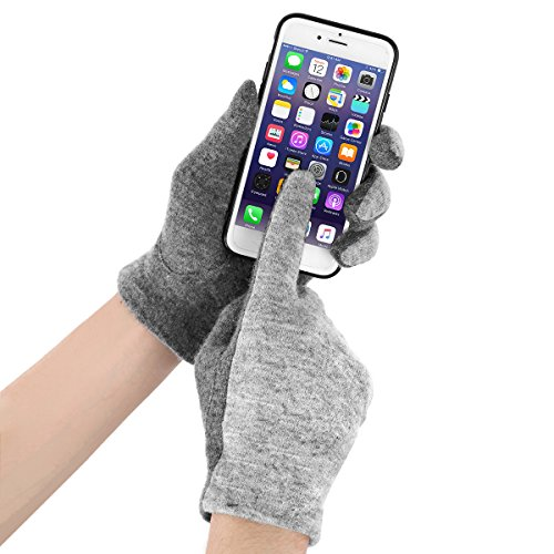 J & J Women Touchscreen Wool Gloves for Cold Weather Daily Commute Driving Walking Running Dog Walking (Gray) by J & J (Image #1)