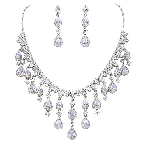 (EVER FAITH Women's Cubic Zirconia Gorgeous Water Drop Dangle Necklace Earrings Set Clear Silver-Tone)