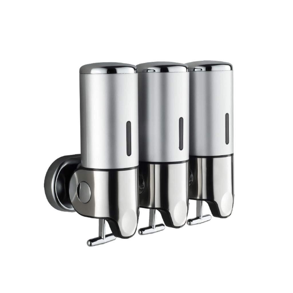 3 Bottles 500 ml Bathroom Shower Liquid Soap Shampoo Gel Dispenser Pump Wall Mounted Soap Dispenser (Color : Silver)
