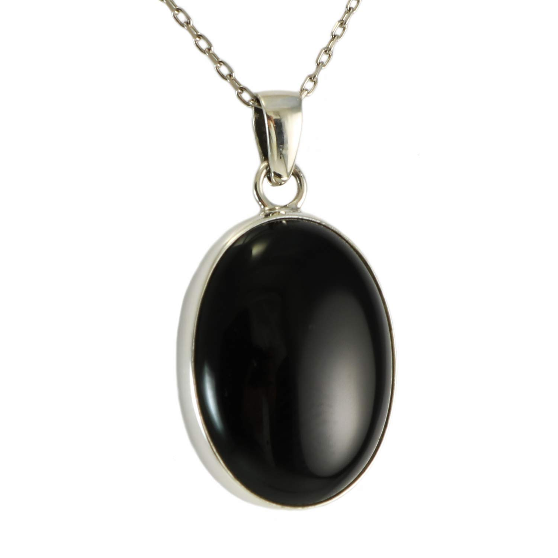 Small Black Onyx Oval in Silver Border 925 Sterling Silver Dangle Earrings