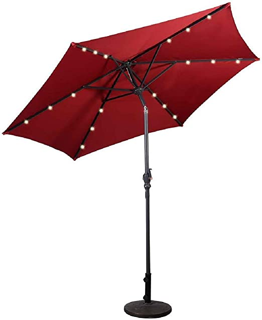 COSTWAY 2, 7M LED Solar Sombrilla de Playa Plegable Parasol de ...