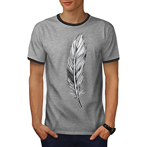 (wellcoda Elegant Feather Mens Ringer T-Shirt, Painting Graphic Print TeeHeather Grey/Heather Dark Grey M)
