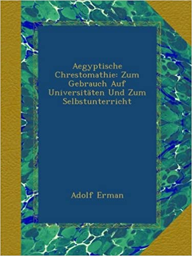 Aegyptische Chrestomathie: Zum Gebrauch Auf Universitäten Und Zum Selbstunterricht