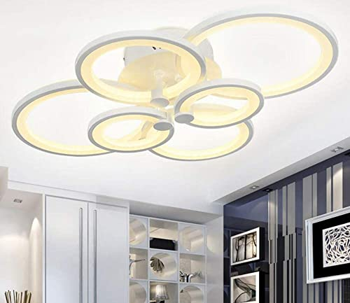 Modern Ceiling Light, Flush Mount Lamp Chandelier LED 6-Head Simplicity Acrylic Contemporary Dimmable Hanging Lamp Lighting for Living Room Dining Bedroom Office Lighting Fixtures Ceiling 6 Lights