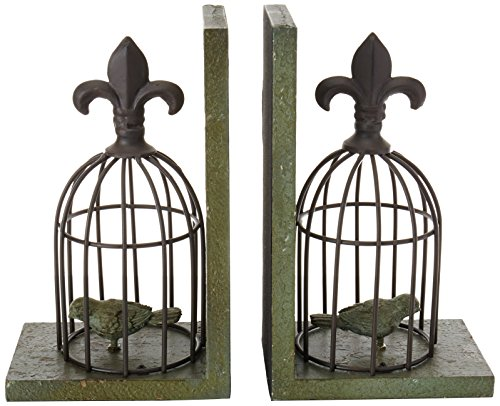 Birdcage Bookends with  with fleur-de-lis embellishments, 2-pack