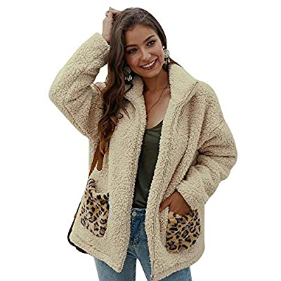 Women's Coat Casual Leopard Print Fleece Fuzzy Faux Shearling Zipper Warm Winter Cardigan Oversized Outwear Fur Jackets at Women's Coats Shop