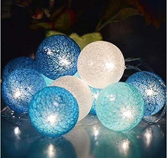 Bola de algodón Cadena de luz Guirnalda al aire libre Luz Fiesta de bodas Fiesta Luces de hadas Decoración Led 1.5M B1: Amazon.es: Iluminación
