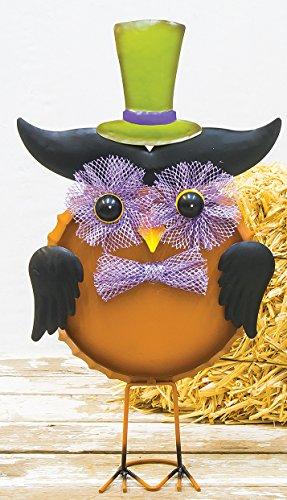Cute Halloween Desktops (Colorful Witchy Owl Metal Halloween Figures Standing Decoration (Orange))