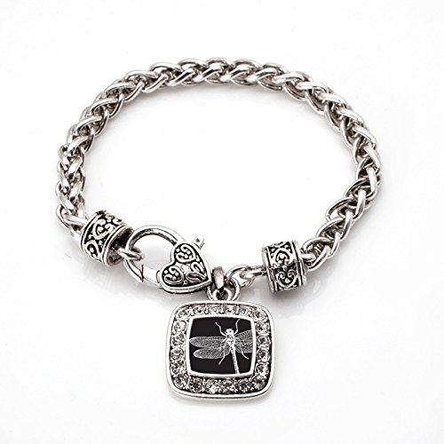 Dragonfly Silver Plated (Dragonfly Classic Silver Plated Square Crystal Charm Bracelet)
