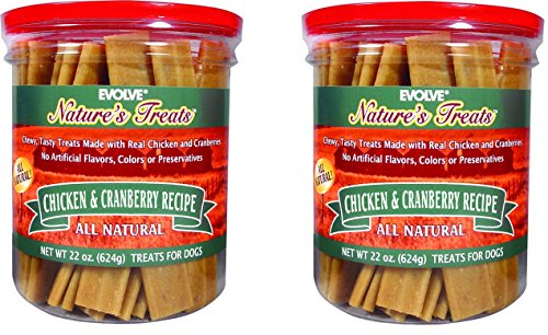 Evolve Nature's Treats Chicken and Cranberry Jerky - 22 Ounce Jars (2 Pack)