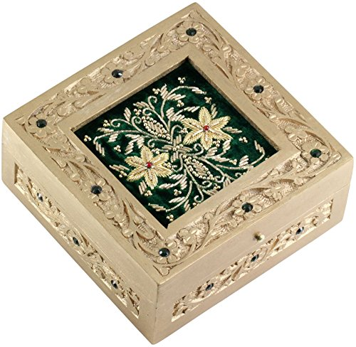 PRIME SALE EXTENDED - Wood Box - Green Ornate Jewelry Box - SouvNear Wooden Zari Decorative Keepsake - 6 Inch Hand Carved Square Wood Box
