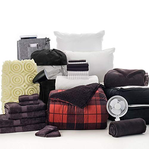 - OCM 27 Piece Varsity Collection Braden Black and Grid Twin XL College Dorm Bedding and Bath Set