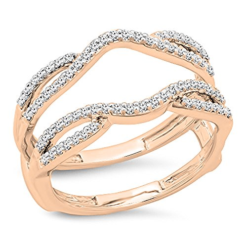 0.35 Carat (ctw) 10K Rose Gold White Diamond Wedding Enhancer Guard Double Band 1/3 CT (Size 8) by DazzlingRock Collection