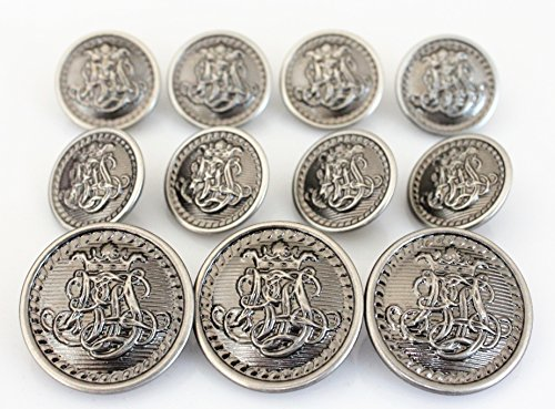 (YCEE 11 Pieces Vintage Antique Dark Silver Metal Blazer Button Set - King's Crowned, Vine - For Blazer, Suits, Sport Coat, Uniform, Jacket )