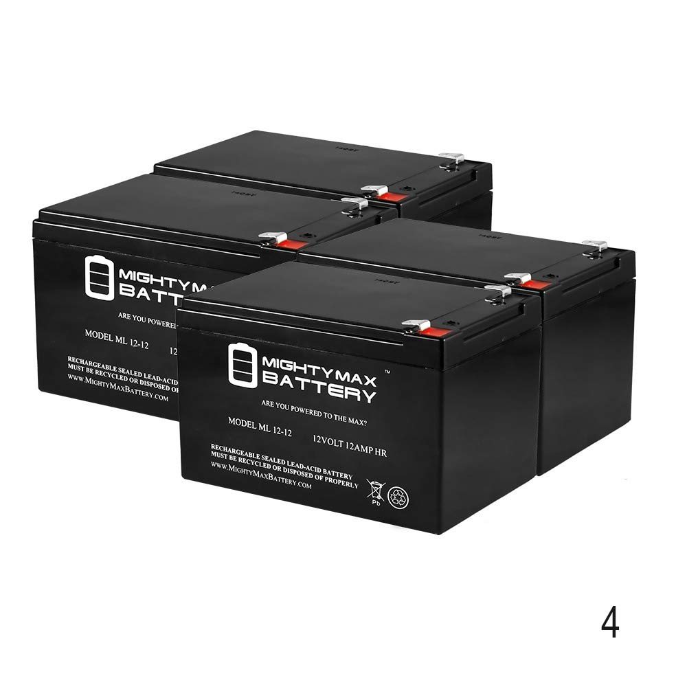 Mighty Max Battery 12V 12AH Replaces AmeriGlide Lite 3-Wheel Travel Scooter - 4 Pack Brand Product