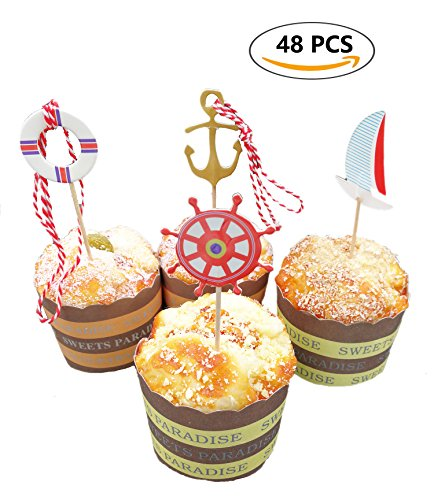 Wedding Old Style Wrappers (A Little Lemon 48 Pcs Nautical Theme Cupcake Picks Cupcake Toppers Food Fruit Picks for Decoration)