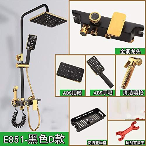 Black Gold Shower Set All Copper Shower Faucet Four-Speed Belt Bidet Thick Lift Rod Supercharged Shower Black Gold D.