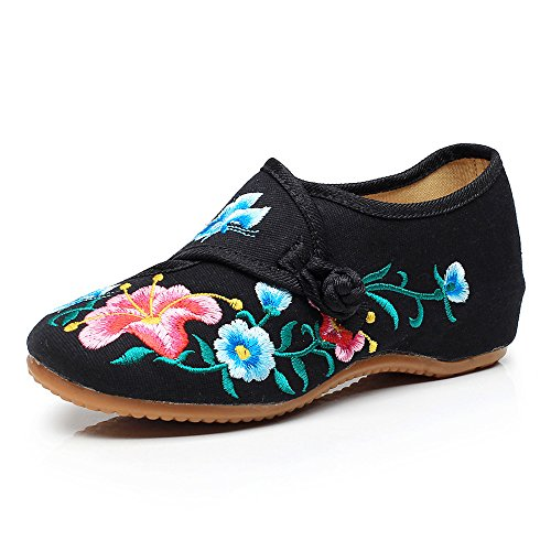 Glory Fanwer Morning Embroidered Black Walking Shoes Flats Cloth Dancing Square Deep National Casual Womens qHHES6