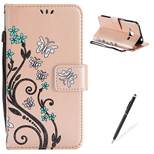 MAGQI Samsung Galaxy J2 2016 Case, Premium Slim Fit Flip PU Leather Stand Wallet Book Style Case with Card Slots Magnetic Closure Embossed Rose Flower Butterfly Pattern Cover - Light Gold