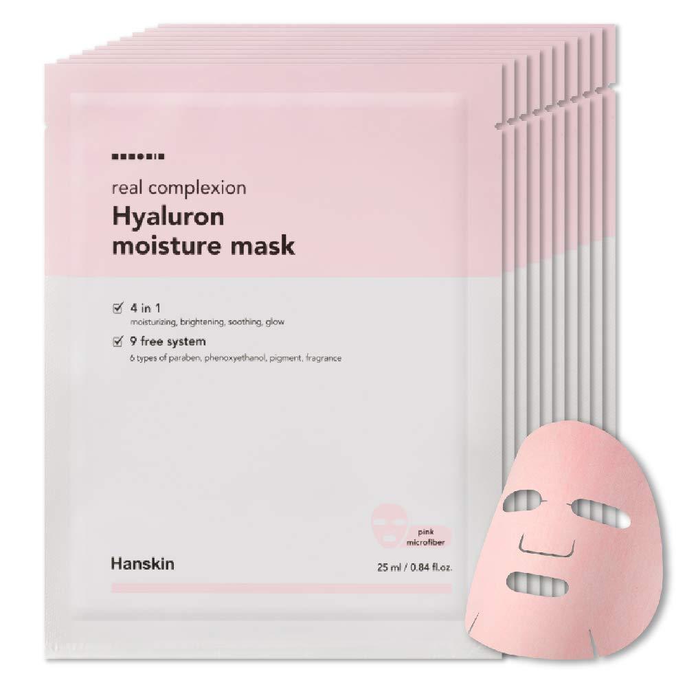 Hanskin Real Complexion Hyaluron Moisture Mask - Hyaluronic Acid, Moisturizing, Glowing & Soft. Hanskin Official. [10 PK] by Hanskin