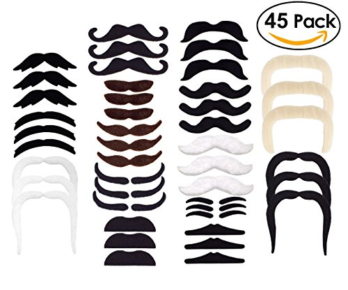 HOZZQ Self Adhesive Fake Mustaches Novelty Party Favors Supplies for Party Supplies Cosplay Decorations Masquerade & Performance Halloween Christmas Party (Kids Hulk Hogan Costume)