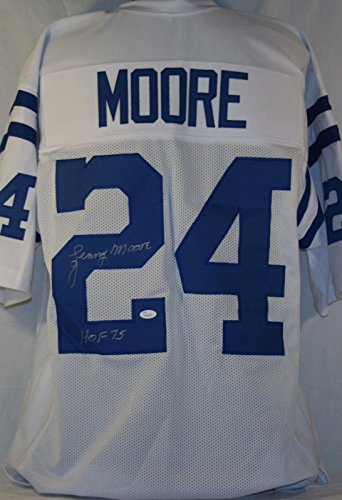 "Lenny Moore""HOF 75"" Colts Signed White Jersey Autographed on #2 Witness - JSA Certified - Autographed NFL Jerseys"