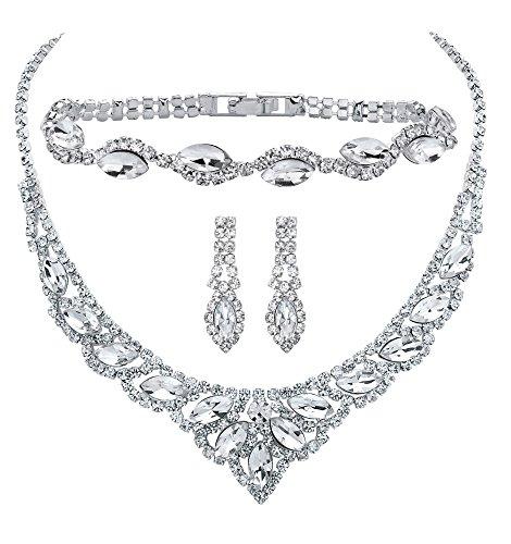 Marquise-Cut Crystal 3-Piece Drop Earrings, Tiara Bib Necklace Bracelet Set in Silvertone 13