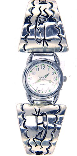 Rich Peel Crafted by Navajo Artisan Robert Cadman. Sterling Silver Overlay Ladies Watch Tips with a Kokopelli