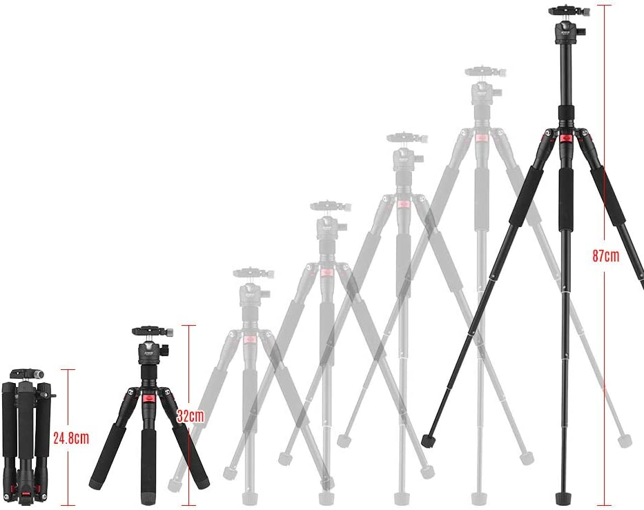 FDGBCF 5-Section Tripod with Mini Ball Head Low Center of Gravity 1//4 Screw Mount for DSLR ILDC Cameras